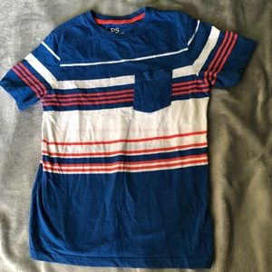 Blue shirt with orange and white stripes